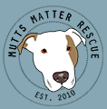 Mutts Matter Rescue (Rockville, Maryland) logo of yellow circle, dog head, pitbull, Est. 2010, Mutts Matter Rescue