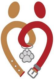 My Dog Eats First (Louisville, Kentucky) logo of brown and red collar with paw print tag, heart, dots, circles