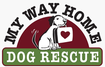 My Way Home Dog Rescue (Sandy, Oregon) logo of dog carrying a suitcase in his mouth with heart, tail wagging