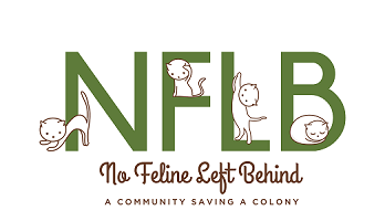 "No Feline Left Behind (Denver, Colorado) logo is ""NFLB"" with cats on the letters above the organization name and tagline"