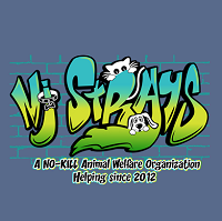 NJ Strays (Maplewood, New Jersey) logo of green and blue graffiti with NJ Strays text, collar, bone, dog, cat