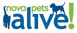NOVA Pets Alive (Fairfax, Virginia)  of blue dog and cat silhouettes, green nova pets and exclamation point, blue alive