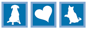 Nassau Humane Society (Fernandina Beach, Florida) logo is white shadows of a dog, heart, and cat each in a blue box