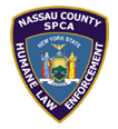 Nassau County SPCA (Bethpage, New York) logo is a law enforcement badge with the organization name and state seal