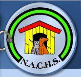 Natchez-Adams County Humane Society (Natchez, Mississippi) logo is a pet tag with a dog and cat in front of a doghouse on it