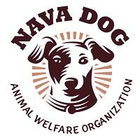 Nava Dog (Ennis, Texas) logo is a drawing of a dog head with a sunburst behind it surrounded by the organization name