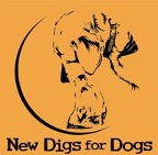 New Digs for Dogs (Murphy, North Carolina) logo of dog and puppy silhouette in circle, new digs for dogs