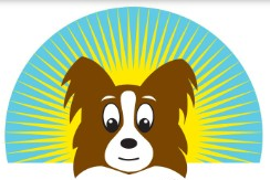 New Life K-9 Rescue (Sherman Oaks, California) logo of brown and white dog cartoon, sun shine, sun rays, New Life K-9 Rescue