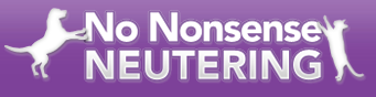 No Nonsense Neutering (Allentown, Pennsylvania) logo is the organization name with a dog and cat jumping up on it on either side