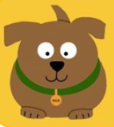 No Stray Left Behind (Apple Valley, California) logo is a brown cartoon dog with a green collar