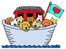 Noah's Ark Animal Foundation (Fairfield, Iowa) logo is an ark filled with dogs and cats with a flag with a heart on it