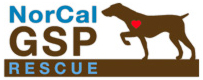 NorCal GSP Rescue (Menlo Park, California) logo is a brown dog with a red heart pointing at the organization name