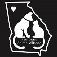 North Georgia Animal Alliance (Ringgold, Georgia) logo is a dog and cat inside the state with a heart marking the location