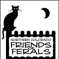 Northern Colorado Friends of Ferals (Fort Collins, Colorado) logo: black on white background, a cat sitting on a fence & a moon