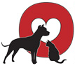 OPIN, Inc. (Riverside, Connecticut) logo is a red circle with a white heart inside and a black dog and sitting cat
