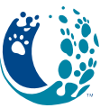 Ocean State Animal Coalition (Warwick, Rhode Island)  of navy, blue waves with paw prints, Ocean State Animal Coalition
