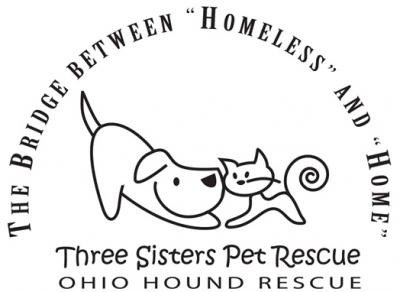 Ohio Hound Rescue/Three Sisters Rescue (Cincinnati, Ohio) logo is a dog and cat surrounded by the org name and tagline