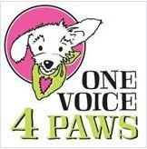 One Voice 4 Paws (Albany, Oregon) logo is a pink circle containing a white dog wearing a green bandanna with a heart on it