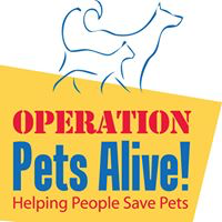 Operation Pets Alive (The Woodlands, Texas) of blue dog and cat silhouette, yellow banner, helping people save pets