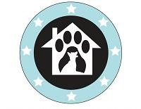 Operation Paws for Homes (Alexandria, Virginia) of blue circle, white stars, house, paw prints, dog, cat silhouette