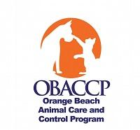 Orange Beach Animal Care and Control Program (Orange Beach, Alabama) logo is an orange circle with a cat pawing a dog's nose