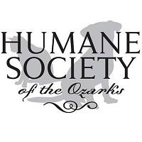 Humane Society of the Ozarks (Fayetteville, Arkansas) logo has a grey dog and cat sitting behind the organization name