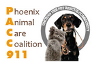 PACC911 (Phoenix, Arizona) logo is Phoenix Animal Care Coalition 911 next to a picture of a dog and cat in a grey circle