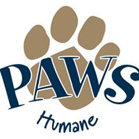 PAWS Humane (Columbus, Georgia) logo of blue paw print, dog, cat, tail, paws