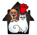 PAWS Providing Animals With Support (St. George, Utah) logo is a dog and cat inside a house with a heart pawprint