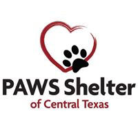 PAWS Shelter and Humane Society (Kyle, Texas) logo is the outline of a heart with a black pawprint on it above the org name