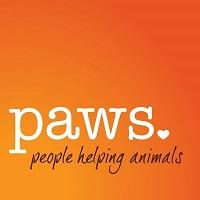 "Progressive Animal Welfare Society (Lynnwood, Washington) logo is ""paws"" with a heart and ""people helping animals"" tagline"