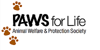 PAWS for Life Animal Welfare and Protection Society (Pueblo, Colorado) logo of three paws, PAWS for Life Animal Welfare