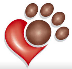 Gateway Pet Guardians (Saint Louis, Missouri) logo is a brown paw print on top of a red heart