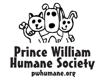 Prince William Humane Society (Dumfries, Virginia) logo is a rabbit, dog, and waving cat above the organization name