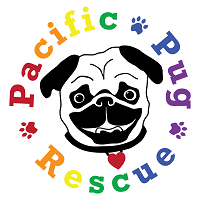 Pacific Pug Rescue (Tigard, Oregon) logo is a pug face with a heart tag circled by the org name in colorful letters