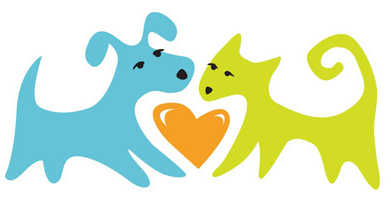 Friends of the Palm Springs Animal Shelter (Palm Springs, California) logo of dog, cat and heart