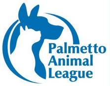 Palmetto Animal League (Okatie, South Carolina) of white dog and blue cat silhouette circle, Palmetto Animal League