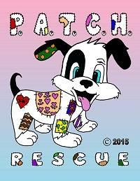 PATCH Rescue (Victorville, California) logo is a dog and the org name with various colored quilt patches all over them