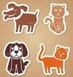 Pauls Clinic (McMinnville, Tennessee) logo is drawings of two dogs and two cats that look like magnets on a brown background
