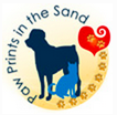 Paw Prints in the Sand Animal Rescue (Newport Beach, California) logo is a dog and cat with the org name, a heart and paw prints