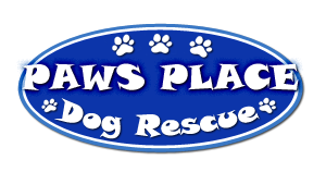 "Paw's Place (Winnabow, North Carolina) logo is a blue oval ""PAWS PLACE Dog Rescue"" and pawprints in white"