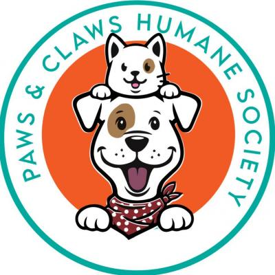 Paws & Claws Humane Society (McGehee, Arkansas) logo cartoon dog and cat
