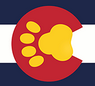 Paws Co (Denver, Colorado) logo of red circle, yellow paw, blue and white stripes, paws co
