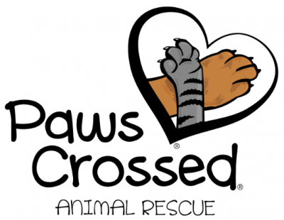 Paws Crossed Animal Rescue (Elmsford, New York) logo with gray striped cat paw crossed over tan dog paw in heart