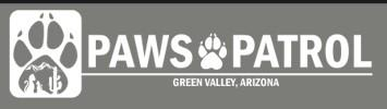 Paws Patrol, Inc (Green Valley, Arizona) logo dog cat and pawprint in square