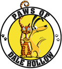 Paws of Dale Hollow (Byrdstown, Tennessee) logo is a dog hugging a cat inside a circle with the org name and pawprints around it