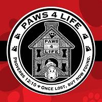 Paws4Life (Shreveport, Louisiana) logo of house, circle, paw prints, bones, dog, proverbs 12:10, once lost but now found