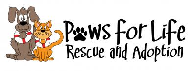 Paws for Life Rescue (Troy, Michigan) logo of dog, cat, life preservers, paw print, rescue and adoption, Paws for Life Rescue