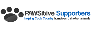 PAWSitive Supporters (Marietta, Georgia) logo is a black pawprint next to the organization name and tagline