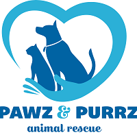Pawz and Purrz Animal Rescue (Painted Post, New York) logo is a dog and cat sitting in a hand that's part of a heart
